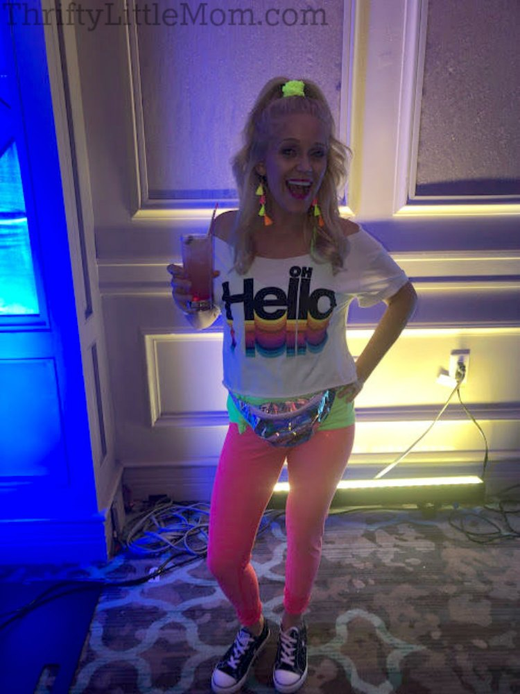 classic neon clothing for 80s costume party