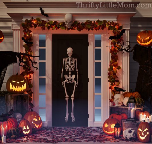 halloween props on front porch