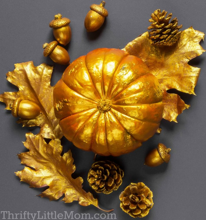 gold painted fall harvest decorations
