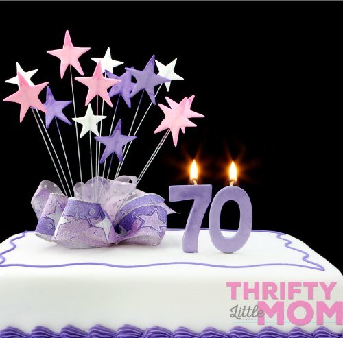 70th birthday party purple cake with stars