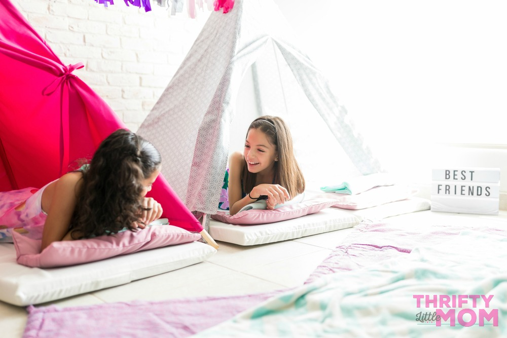 8year old birthday party idea is girls hanging out for slumber party