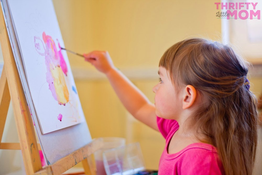 kids painting at a slumber party