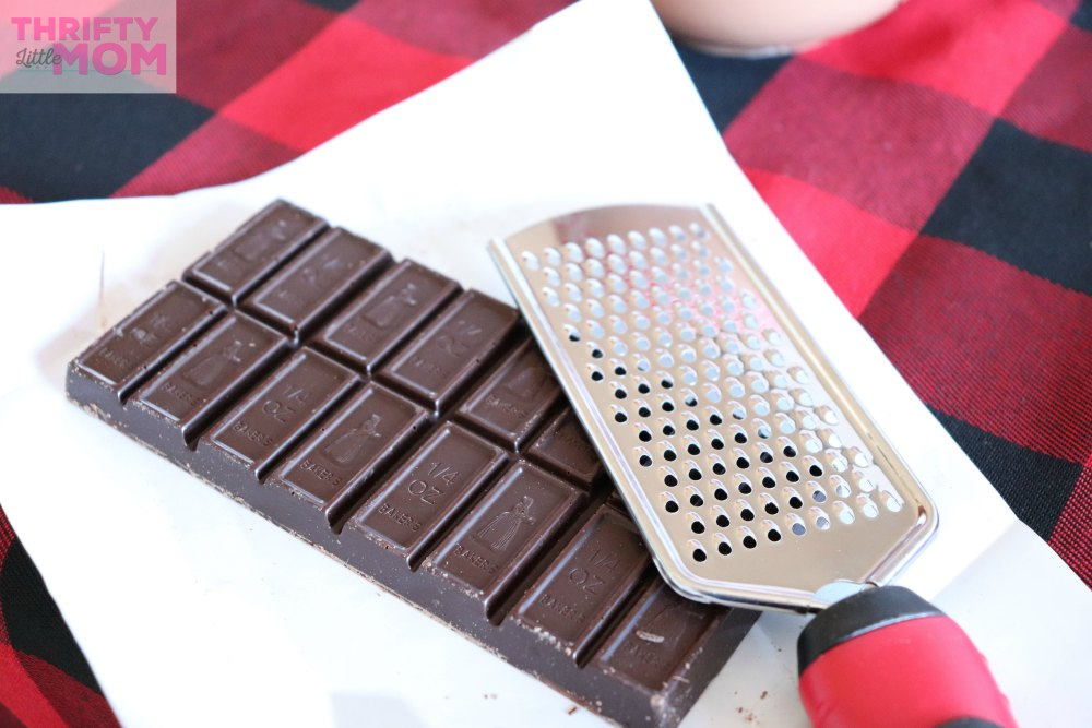 full bar of chocolate to shave for hot chocolate bar