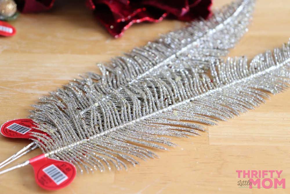 feathers for poinsettia decor wreath