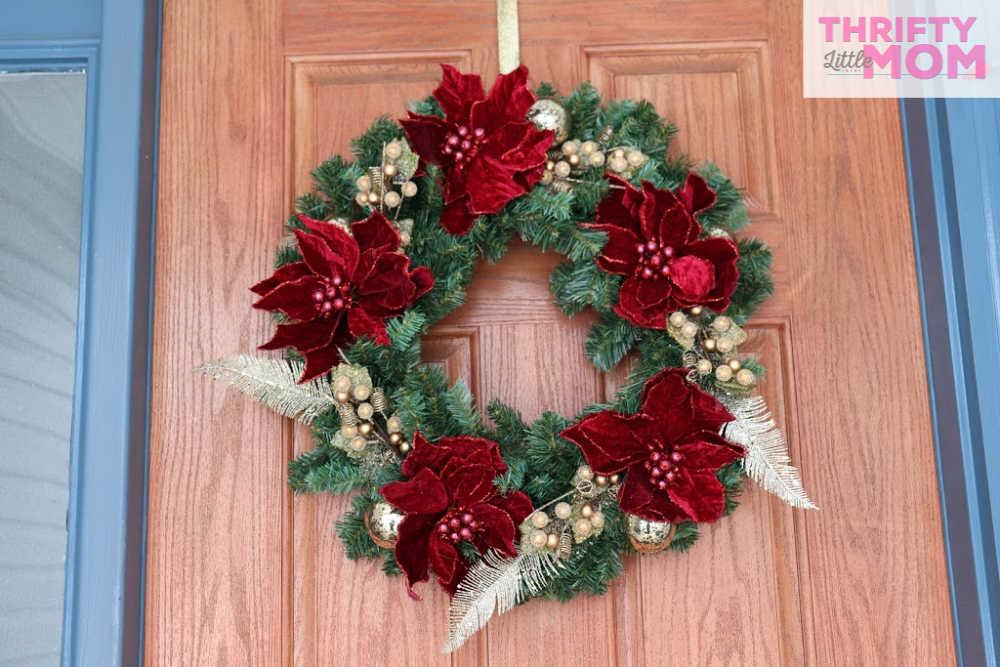 hanging poinsettia decor wreath