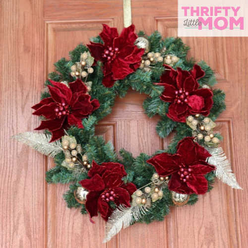 finished poinsettia decor wreath