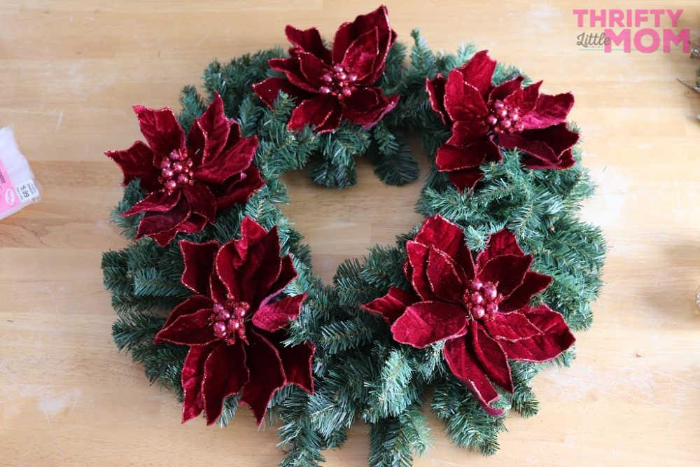 flowers on poinsettia decor wreath