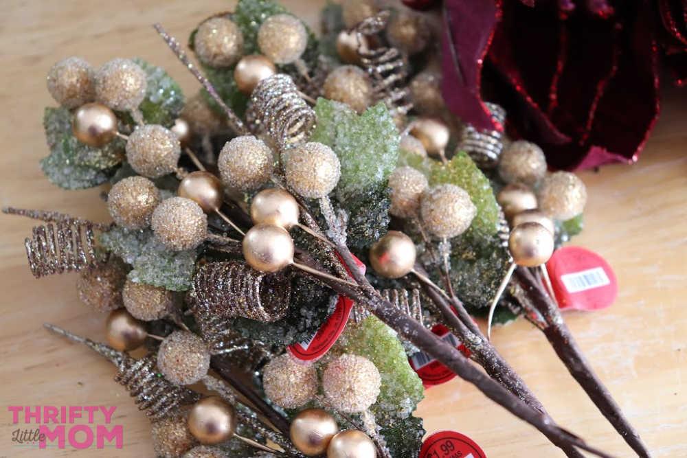 berries on poinsettia decor wreath