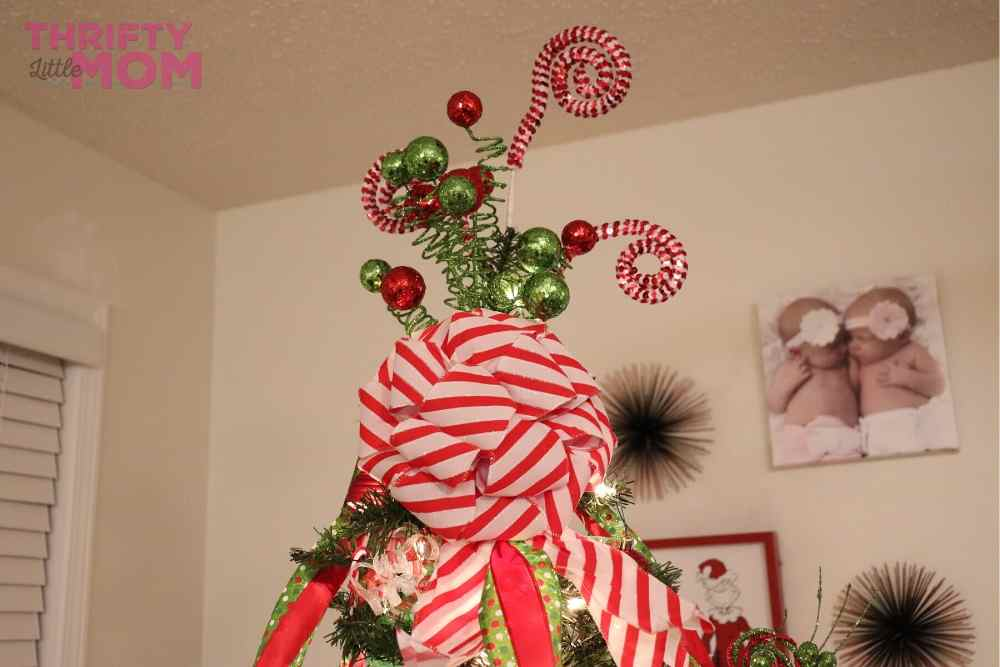 red and white striped bow for grinch christmas tree