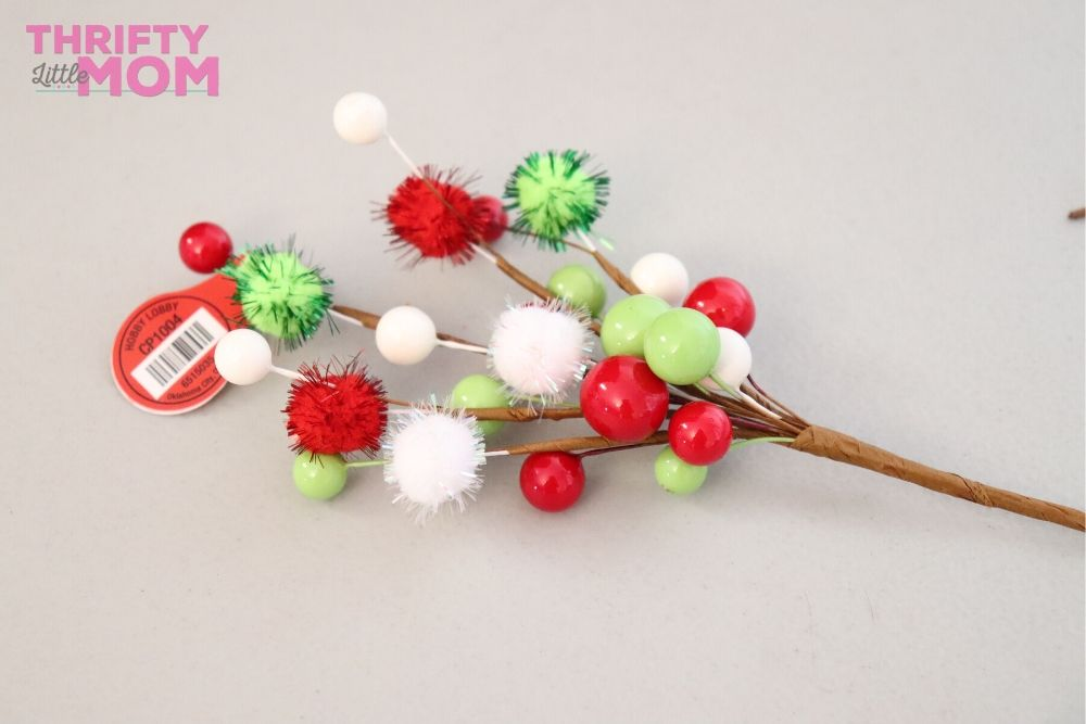 stemmed pom-pom decor for grinch christmas tree