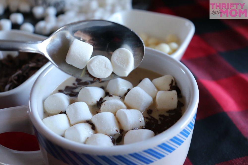 layer marshmallows on hot chocolate
