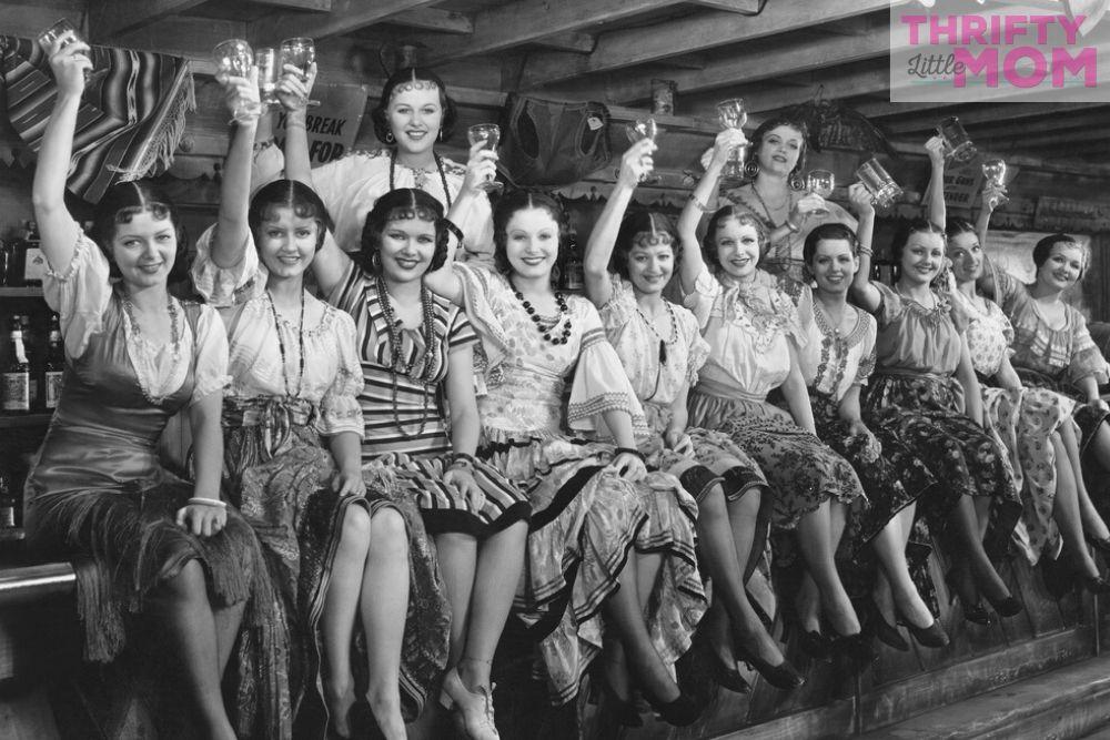 vintage women enjoying a speakeasy