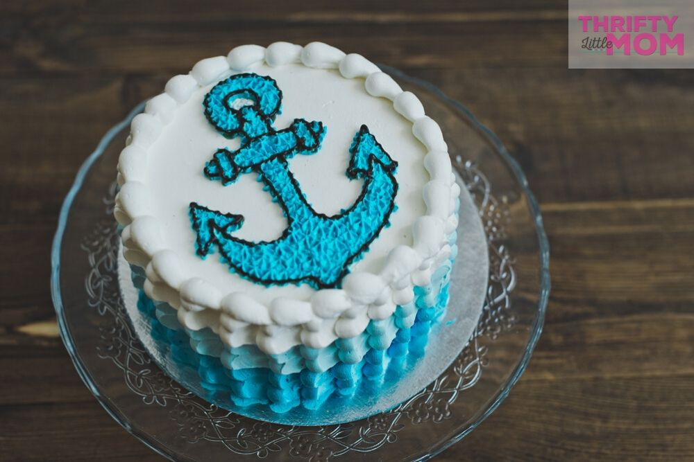 anchor cake for nautical baby shower