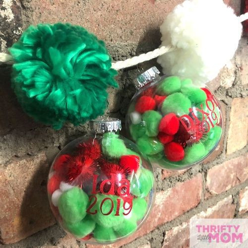 Easy Personalized Cricut Ornaments with Pom Poms