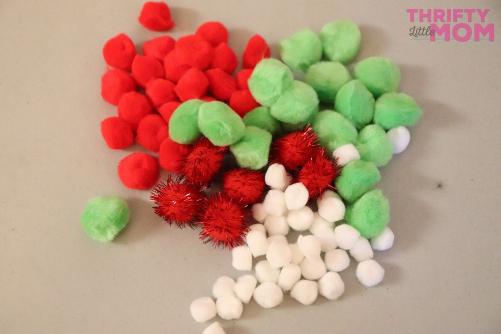 fluffy multicolored christmas pom poms