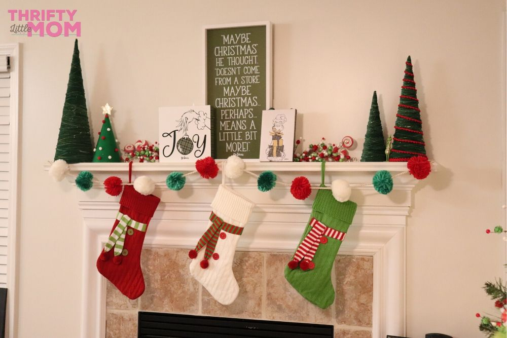 grinch decorated mantle for christmas