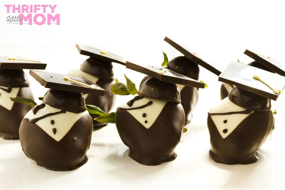 chocolate covered cherries with graduation caps for high school party