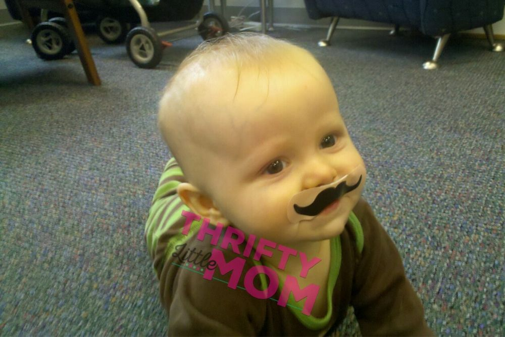 cute baby little man with mustache