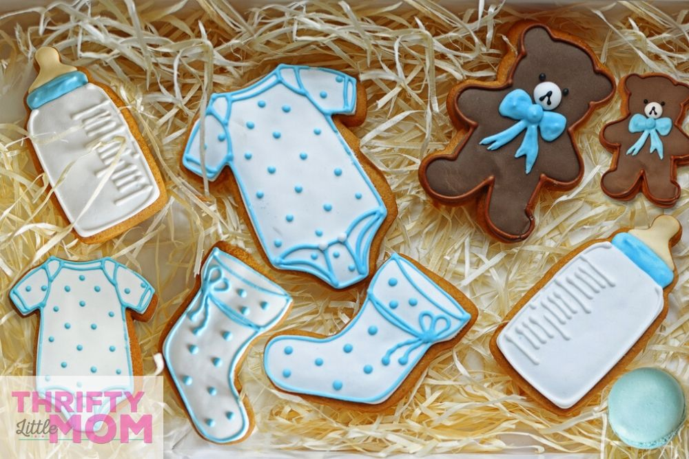 cookies shaped like baby accessories for teddy bear baby shower