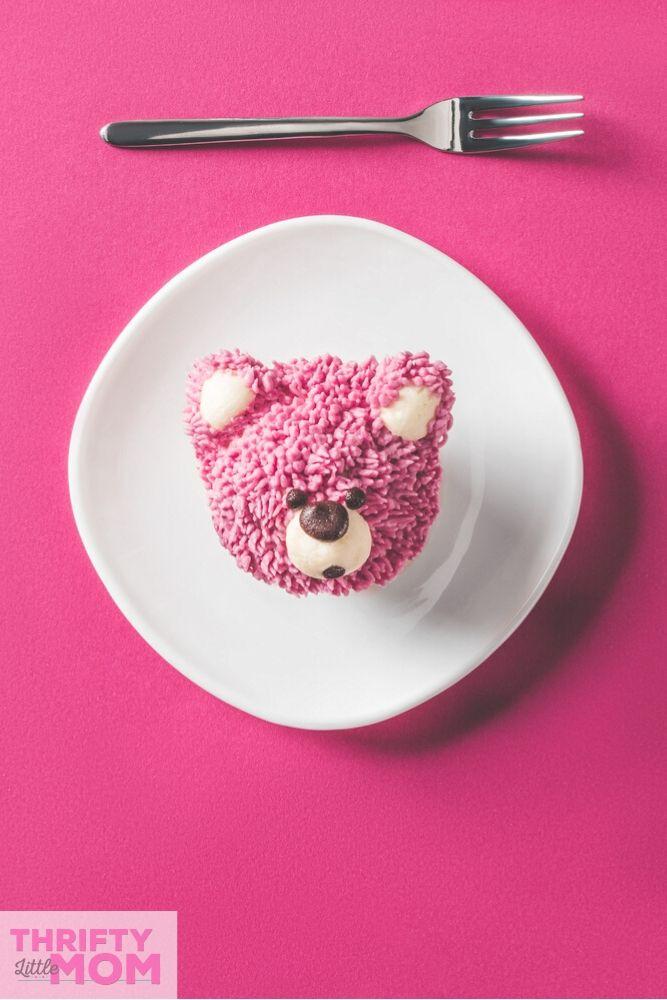 fluffy pink teddy bear baby shower cupcake