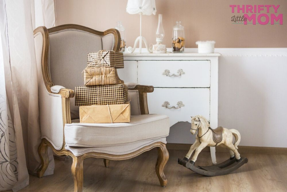 classic arm chair with teddy bear baby shower decorations