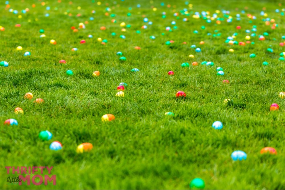 field of hidden eggs for easter games