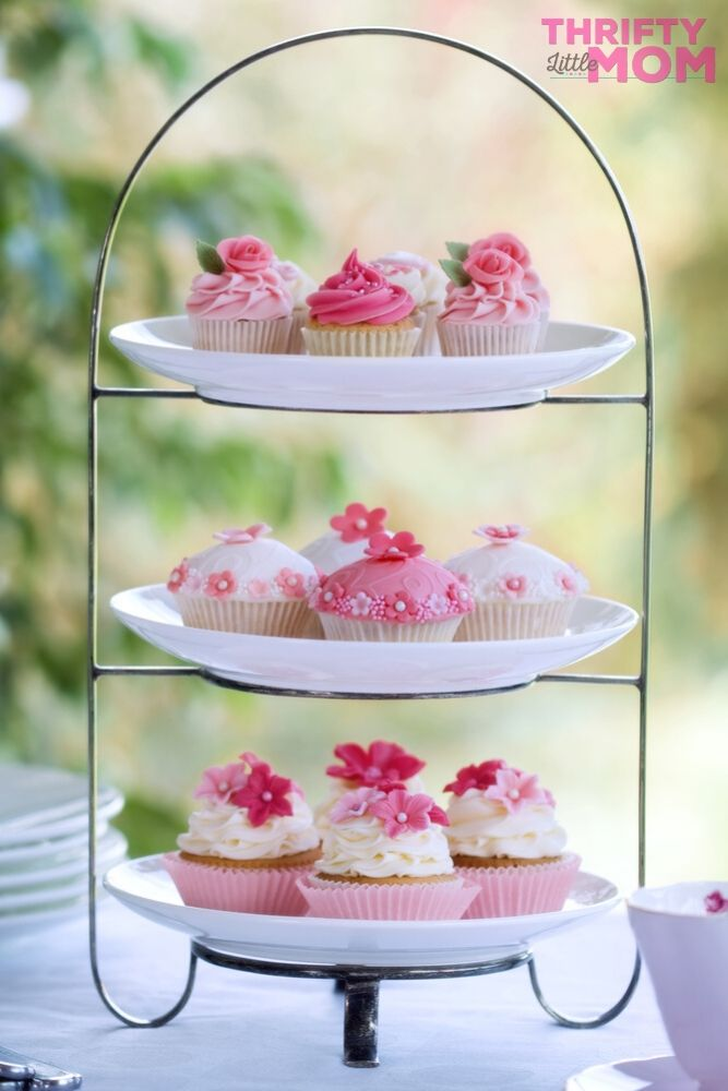 cupcakes on tiered plates make for a great tea party idea