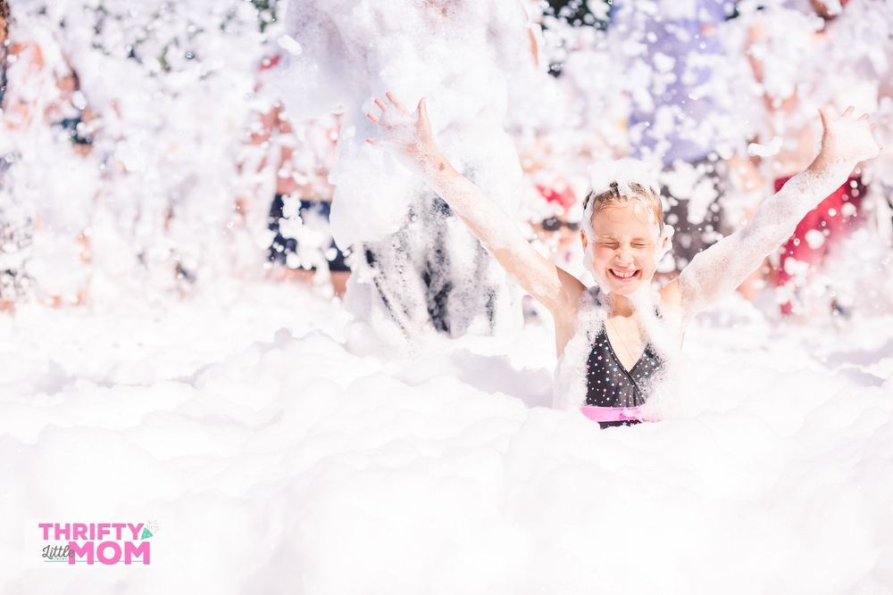 10 year old playing in foam