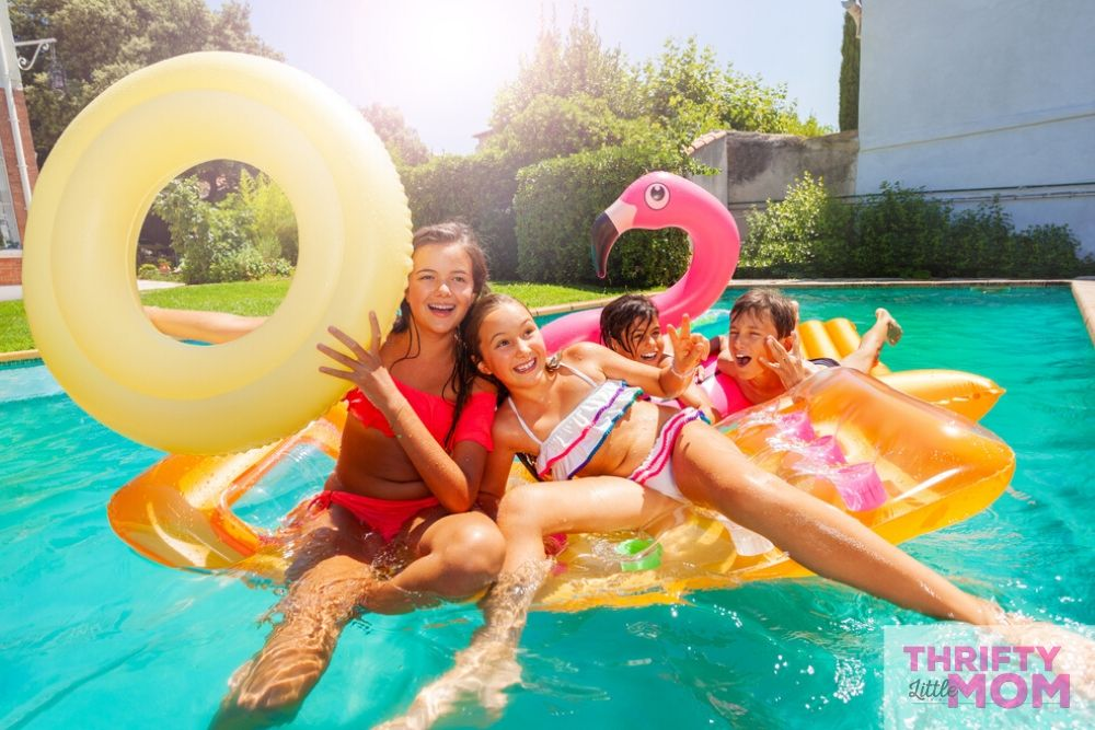 kids having fun in a pool for 10 year old birthday party ideas