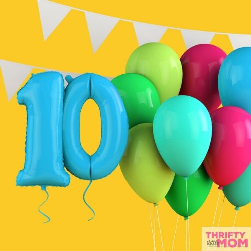 themed balloons for 10 year old birthday party ideas