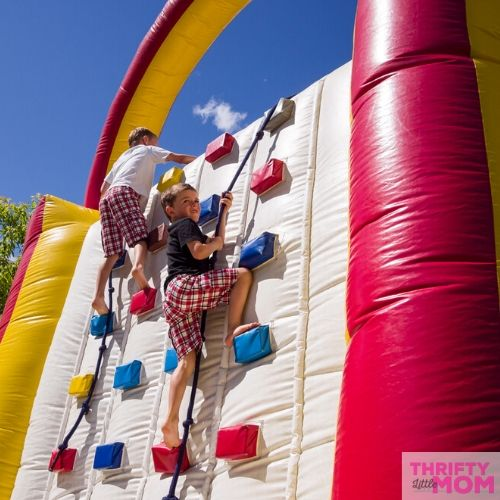 kids climbing an obstacle course for 10 year old birthday party ideas