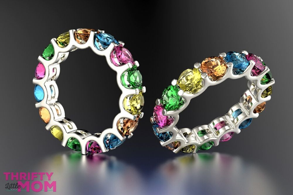 rings with family member's birthstones can make for a great 70th birthday idea for mom
