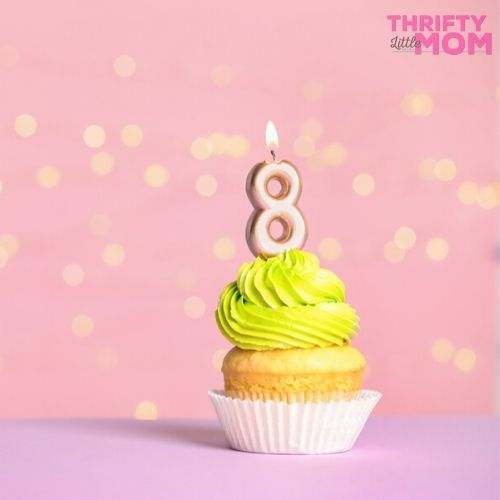 cute candle on a cupcake for an 8 year old birthday party idea
