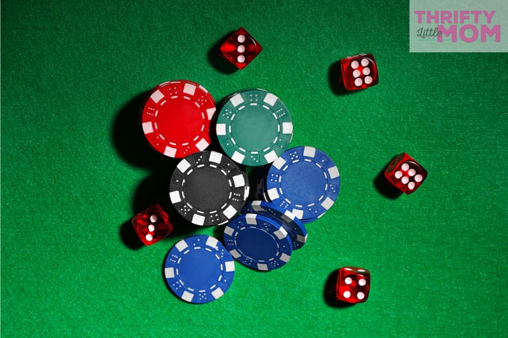 poker chips and dice are great for a casino adult party theme
