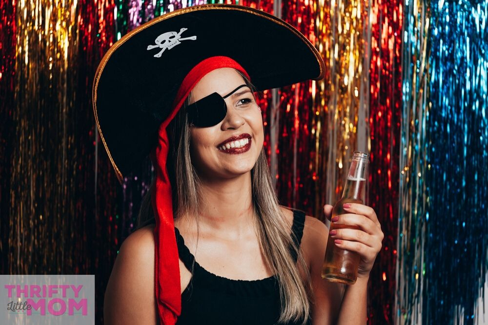 woman dressed a pirate for adult party theme