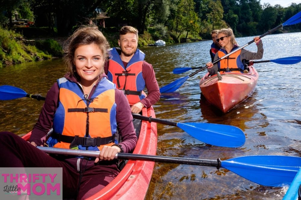 canoeing down a river with friends is a cheap birthday party idea