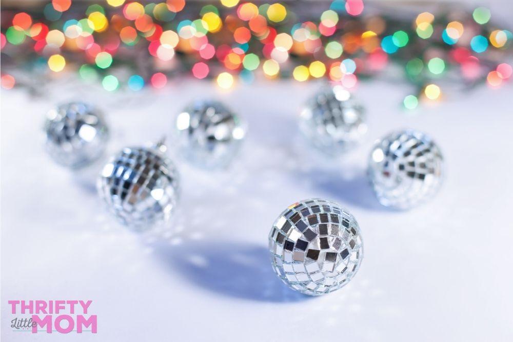 mini disco balls are fun decorations at a kids disco party
